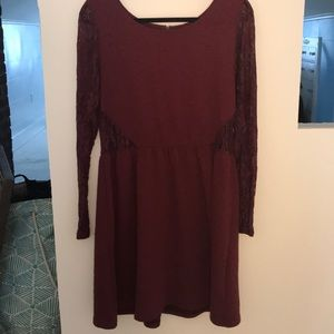 Maroon floral dress with lace cut outs